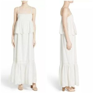 Joie XS X-Small White Rey Tiered Maxi Dress